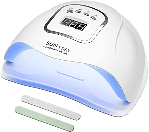 Lámpara de uñas de gel UV, 120 W UV secador de uñas luz LED para esmalte de gel, 4 temporizadores, accesorios profesionales para arte de uñas, curado uñas de gel, blanco, 1 pec