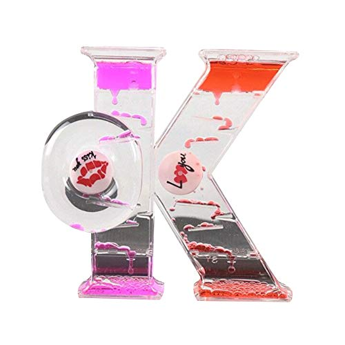 junshi11 OK Design Moving Drip Oil Hourglass Liquid Bubble Timer Clock Floating Motion Home Office Desk Decor Best Sensory Toy Kids Gift, Pink Red