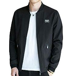 EASTEMPO ジャケット ma-1 メンズ 長袖 ブルゾン カジュアル 春秋 ゆったり おしゃれ 防風 大きいサイズ (ブラック, 2XL)