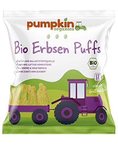 Pumpkin Organics Bio Erbsen Knusper-Puffs, für Kinder und Babys ab dem 12. Monat, 8er Pack (8x20g)