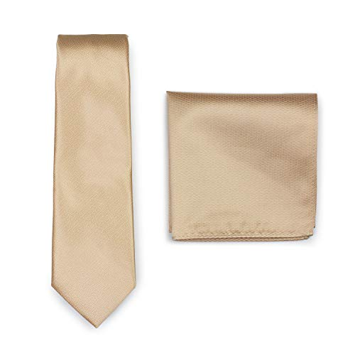 Bows-N-Ties Men's Wedding Tie Set Formal Necktie and Matching Pocket Square (Golden Champagne)