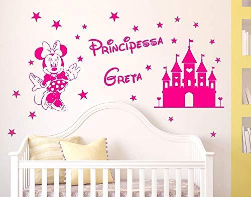 Adesivi Murali Bambini Nome personalizzato Minnie e castello magico con stelline Principessa Adesivo Nome Wall Stickers Decorazione da parete Cameretta Bambina