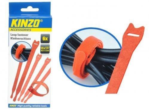 Kinzo Set 6 Pezzi Organizza Cavi In Velcro 38 Cm. Sistema Chiusura Facile Per Tenere In Ordine I Tuoi Cavi