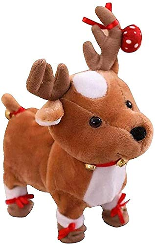 NC56 Reindeers Plush Toy Electric Walking Cute Plush Reindeers Toys with Singing Toys and Hobbies Novelty Funny Toys Halloween Decoration