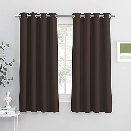 PONY DANCE Window Blackout Curtains - Thermal Insulated Grommet Curtain Shades Light Blocking Energy Efficient Panels/Drapes for Bedroom/Living Room, 52 x 63 inch, Brown, Double Pieces