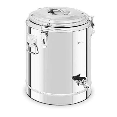Royal Catering RCTP-30ET Thermobehälter Edelstahl 30 L mit Ablasshahn Thermo-Transportbehälter für Essen Thermobox Gastro Warmhaltebehälter für Speisen Thermoport