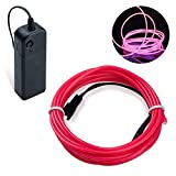 Lysignal 16ft Neon Glowing Strobing Electroluminescent Light Super Bright Battery Operated EL Wire Cable for Cosplay Dress Festival Halloween Christmas Party Carnival Decoration (Pink)