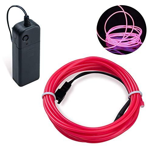 COVVY Wasserdicht Flexibel 3M 9 FT Neon Beleuchtung Lichtschlauch Leuchtschnur EL Kabel Wire mit 3 Modis für Disco Party Kinder Halloween Kostüm Kleidung Weihnachtsfeiern (Rosa, 3M)
