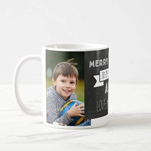 N\A Taza de café Divertida Taza de té de café de 11 oz Pizarra Foto Personalizada Taza de Navidad de la Mejor tía Taza de café novedosa para Hombres Mujeres Festival de cumpleaños Navidad