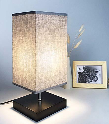 DLLT Modern Tischlampe aus Holz mit Zugschalter & EU-Stecker, 3000k Warmweiß, auf Tisch E27-Fassung, Skandinavisch Nachttischlampe für Schlafzimmer, Kinderzimmer, Wohnzimmer, Esszimmer Eckig