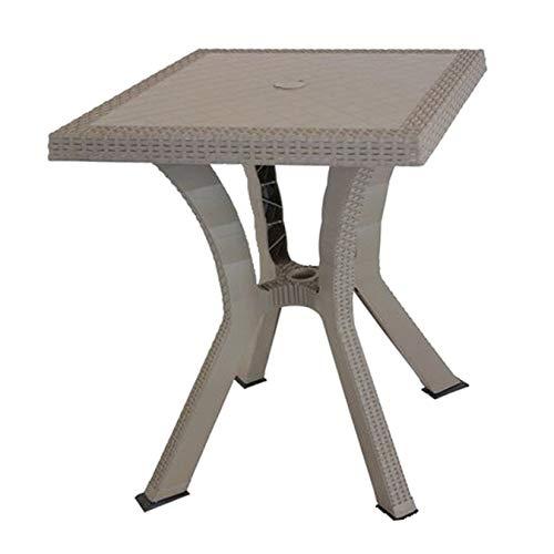 DIMAPLAST Tavolo Tavolino Rattan da Giardino Esterno 79x79x72 cm Tortora Figaro