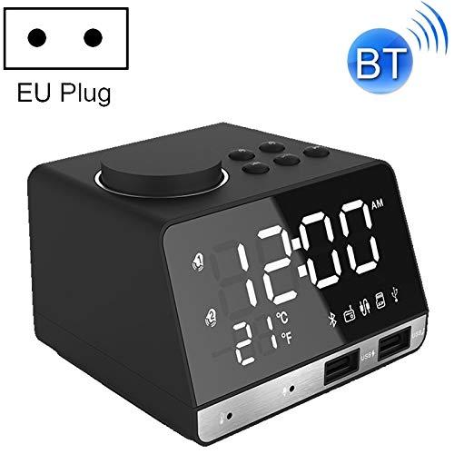 JinEamy K11 Bluetooth-Wecker-Lautsprecher-Digital-Musik-Taktgeber-Anzeige-Radio mit Doppel-USB-Schnittstelle, Unterstützung U Disk/TF/FM/AUX, EU-Stecker (Color : Black)