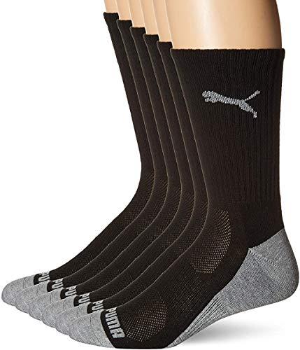 Puma Men's 6 Pack Crew Socks, black/Gray, 10-13