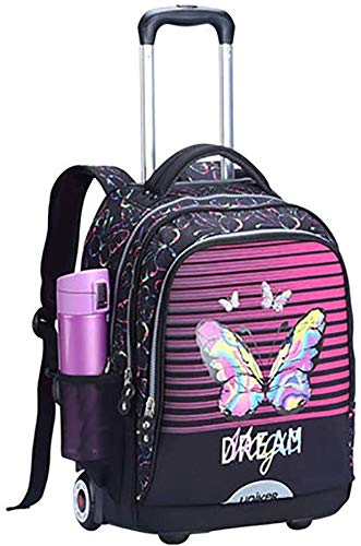 ZLSANVD School Bags for Girls 17 Inch School Bookbags Oversized Load Multi-Compartment Wheeled Rolling Backpack Laptop Travel Bag for Students Kids Backpack (Color : D)