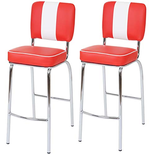 Mendler 2X Tabouret de Bar Avellino, Chaise de comptoir, Design rétro des années 50, Similicuir ~ Rouge/Blanc