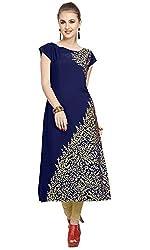 ZIYAA Womens Blue Color Floral Print Straight Crepe Kurta