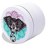 Elephant Herb Grinder - SOFT TOUCH Matte Smooth, Cute Grinder 4 Piece White Blue Pink Grinder for Girls with BONUS Scraper (Elephant Mandala Zen) - 2.2 Inches