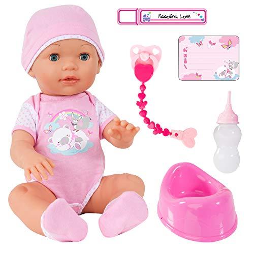 Bayer Design 94209AA Funktionspuppe, Interaktive Puppe Piccolina Love, die PIPI Machen kann, die Augen schließt, inkl. Zubehör, rosa