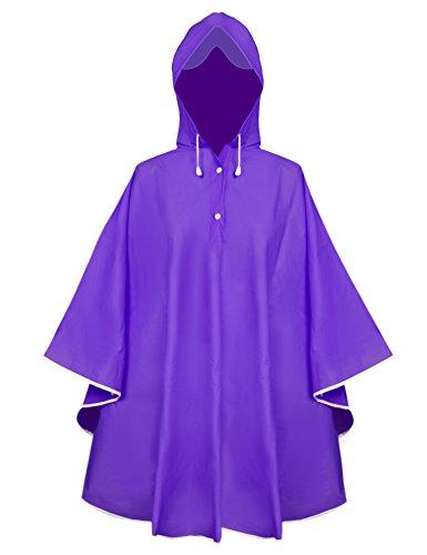 Aibrou Damen Transparent Regenponcho Regenjacke aus EVA Wasserdichte Trenchcoat Parka Regenkleidung Regencape Violett