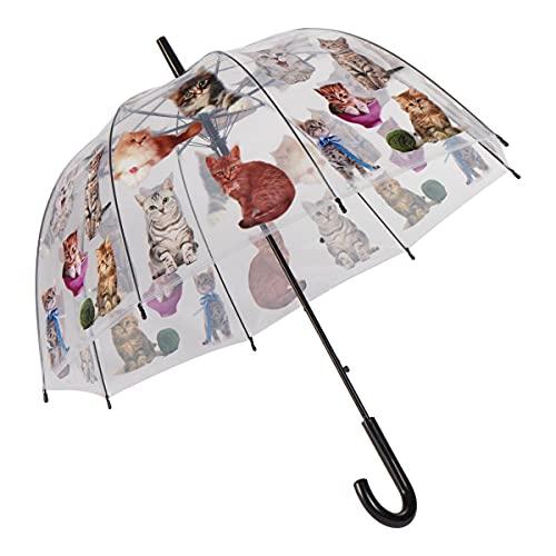 Unbekannt Stockregenschirm Katze, Regenschirm sturmfest, winddicht, Windproof, Regenschutz, bunt, 83cm x 75cm, Kunststoff, Metall