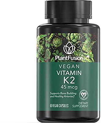PlantFusion K2 Vegan Vitamin 45 mcg | Bone Building and Healthy Arteries Support, Plant Based, Gluten and Soy Free, Dietary Supplement, 2 Month Supply, 60 Vegan Capsules