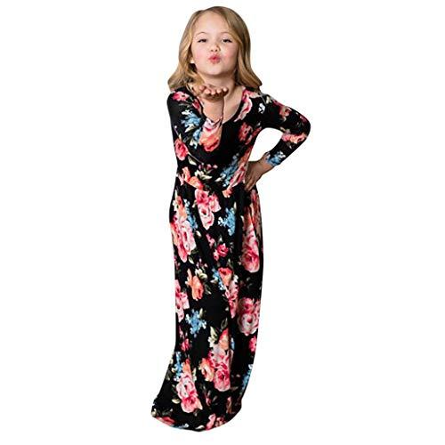 Cloodut Dress Tochter Scherzt Lange Freizeitkleider für Damen Hülsen-Blumendruck-Kleid-Familien-Zusammenpassende Kleidung,Schwarz