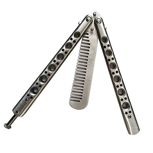 Lanker Butterfly Knife and Comb Knife Trainer, Rainbow Metal Practice Balisong Steel Dull Knife with Sheath (Training Knife) 100% Safe