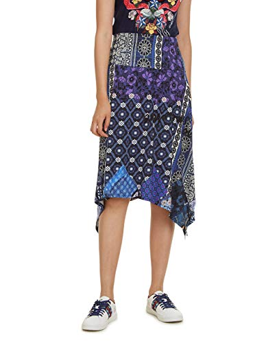 Desigual Damen Skirt Knee Katherine Woman Blue Rock, Blau (Navy 5000), Medium