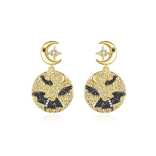Glamorousky Fashion Personality Plated Gold Bat Geometric Round Earrings with Cubic Zirconia