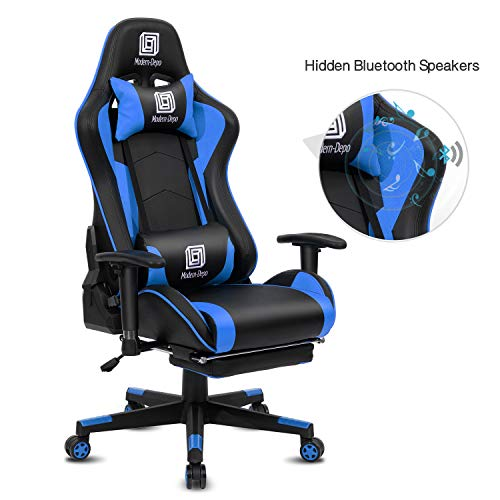 Modern-Depo High-Back Swivel Gaming Chair Recliner with Bluetooth 4.1 Speakers, Footrest, Headrest and Lumbar Support | Height Adjustable Ergonomic Office Chair - Black & Blue chair footrest gaming