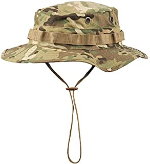 Boonie Hat Tactical Ripstop Headwear Bucket Hat with Map Pocket Chin Strap for Wargame Sports Hunting Fishing UV Protection Cap with Oversized Brim for Outdoor Military Hat with Brass Vents