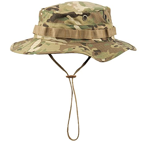 Boonie Hat Tactical Ripstop Headwear Bucket Hat with Map Pocket Chin Strap for Wargame Sports Hunting Fishing UV Protection Cap with Oversized Brim for Outdoor Military Hat with Brass Vents (CAMO)