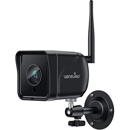Wansview Überwachungskamera Aussen, WLAN IP Kamera 1080P Outdoor WiFi mit IP66 wasserdicht, Bewegungserkennung, Zwei Wege Audio, SD-Kartenslot, ONVIF und RTSP, funktioniert mit Alexa W6 Schwarz