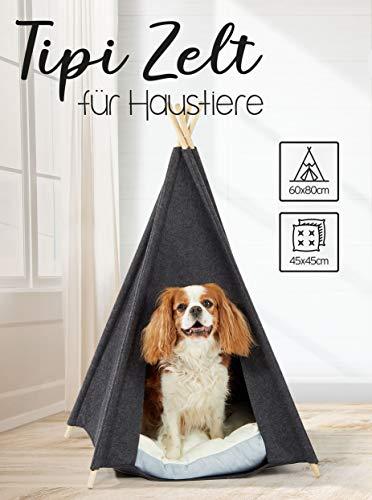 Spetebo huisdiertent in grijs, met kussen, ca. 80x60x60 cm - Stabiele katten Tipi honden tent huisbed wasbaar