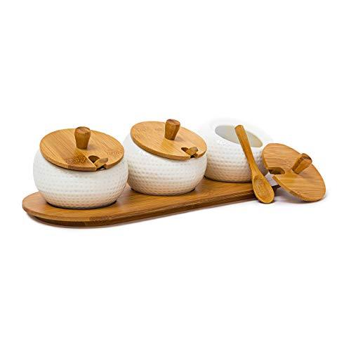 Relaxdays Portaspezie Jiao con Vasetti in Ceramica, Coperchi, Cucchiaini e Vassoio in bambù, Barattoli, Naturale, Multicolore, 30.5x12x8.5 cm