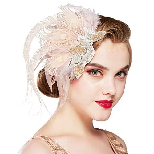 Coucoland Horquillas para el pelo de los años 20, con plumas de pavo real, elegante, estilo años 20, para disfraz, charlestón Estilo 1 - rosa. Talla única