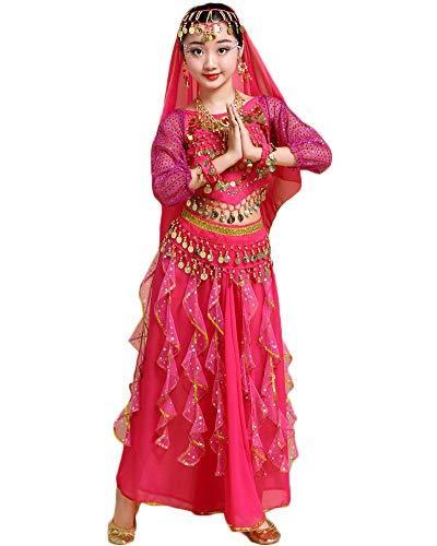 Mädchen/Damen Bauchtanz Rock Glänzend Tanzrock Ägypten Indische Tanzkleidung Rose 120-135CM