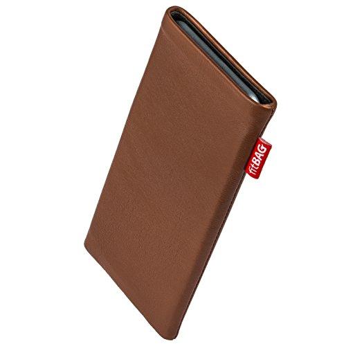 fitBAG Beat Cognac Handytasche Tasche aus Echtleder Nappa mit Microfaserinnenfutter für Carbon 1 MKII | Hülle mit Reinigungsfunktion | Made in Germany