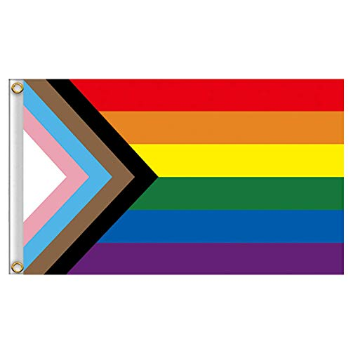 Progress Pride Flag Rainbow 3 x 5 Feet Flag Gay Lesbian Transgender Bisexual LGBTQ Banner with Brass Grommets Polyester Cloth UV Resistance Fading & Durable Flag