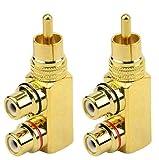 Gebildet 2pcs Adattatore Sdoppiatore RCA,90 Gradi ad Angolo Retto da RCA Maschio a 2 RCA F...