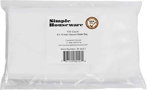 "100 Count - Precut Food Vacuum Sealer Bags Storage,Quart Size 8"" x 12"""