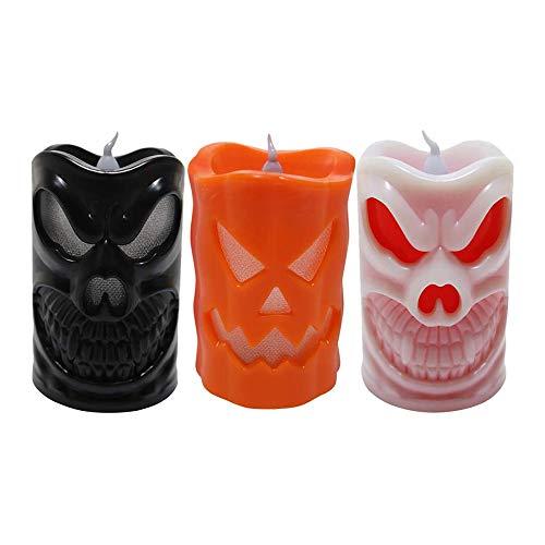 Halloween-Geist Totenkopf Form Licht, Kürbislampe, langlebig, kreativ, dekorativer Totenkopf, Nachtlicht, Halloween-Requisite, Kerzenlaterne, 3 Stück Farbe A