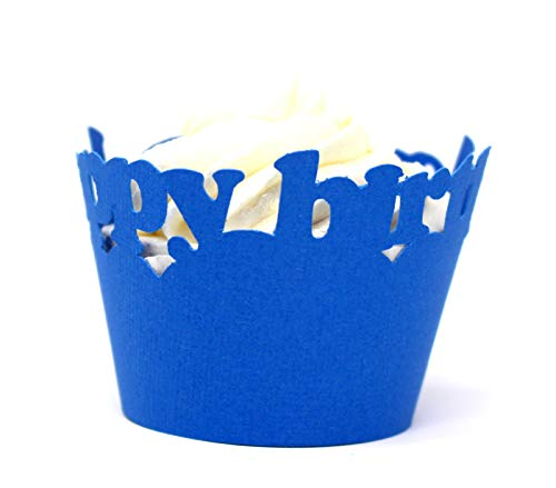 All About Details Blue Happy-birthday Cupcake Wrappers, Set of 12