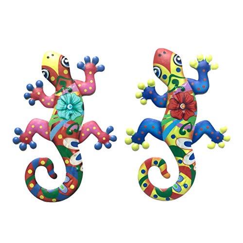1/2 Unids Metal Gecko Pared Colgante Gecko Guiones Esculturas Hierro Gecko Al Aire Libre Pared Decoración Gecko Arte Adorno De Pared Lagarto Colgando Hardware Colgante Para Patio Interior Back