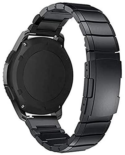 chenghuax Reloj Correa, Banda de Reloj de 22 mm 20 mm para Samsung Galaxy Watch 42 46mm Strap de Acero Inoxidable Engranaje S3 Pulsera (Color : Black, Size : 22mm)