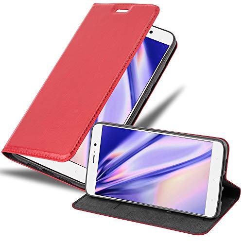 Cadorabo Funda Libro para Xiaomi Mi 5S Plus en Rojo Manzana - Cubierta Proteccíon con Cierre Magnético, Tarjetero y Función de Suporte - Etui Case Cover Carcasa