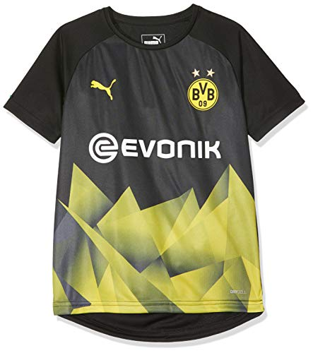 PUMA Kinder BVB Int'l Stadium Jersey Jr with Evonik Logo Trikot, Black/Cyber Yellow, 128