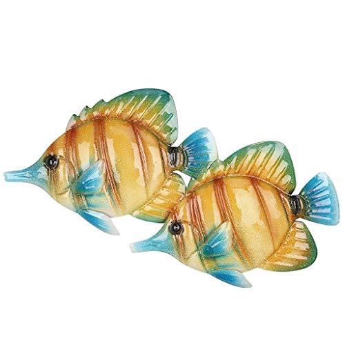 JJZXD Pescado Pared Colgando Pared decoración Creativa Ornamento Artesanal Arte Arte Marina Vida Pegatinas de Pared for niños Habitaciones Decorativas (Color : Yellow, Size : Style 2)