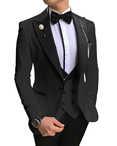 Men's 3 Piece Slim Fit Men Suit Notched Lapel Solid Groomsmen Tuxedos for Wedding(Blazer+Vest+Pants)(Teal,36)