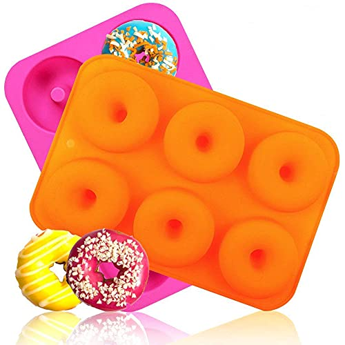 Goodlucky365 (2pc) 6-Cavity Donut Silicone Baking Pan/Moule à gâteau/Non-Stick Donut Mold/Lave-vaisselle,Four,Micro-ondes,Congélateur Coffre-fort